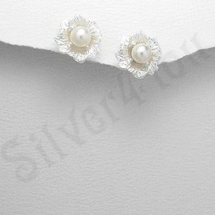 Cercei argint floare cu perla alba - PK1828