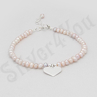 Bratara argint perle albe si inima - PK2486