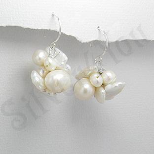 Cercei argint cu perle albe - PK1824