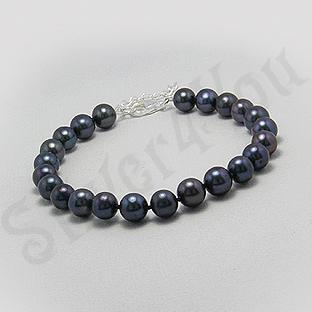 Bratara argint cu perle negre - PK2004