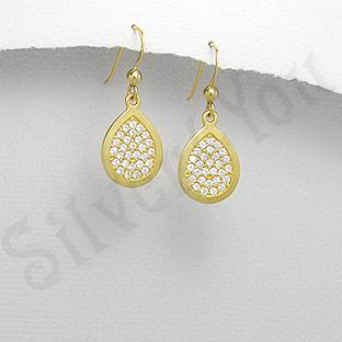 Cercei argint auriti mici lacrima pietre albe zircon - PK2477