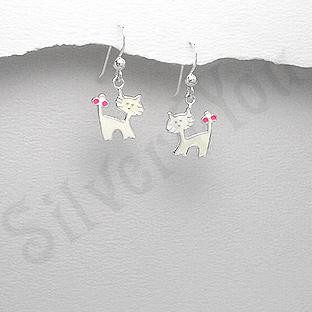Cercei argint pisici albe mici - PK2538