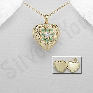 Pandantiv argint aurit si smarald - PK3005