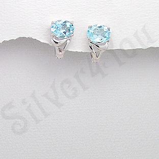 Cercei argint aspect aur alb topaz bleu - PK2340