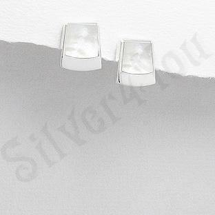 Cercei argint mici dreptunghi sidef alb - PK2496