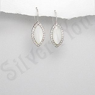 Cercei argint ovali mici cu sidef alb si zirconi - PK1835