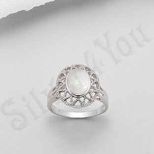Inel argint oval cu sidef alb - PK2018