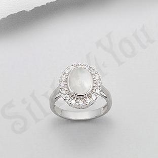 Inel argint oval cu sidef alb si zirconi albe - PK2019