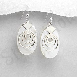Cercei argint ovali sidef alb - PK2491