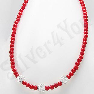 Colier argint margele coral rosu si cristale albe - PK2317