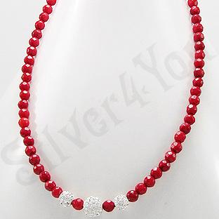 Colier argint margele coral rosu si cristale albe - PK2318
