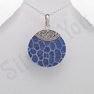 Pandantiv argint rotund coral albastru - PK2504