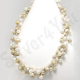 Colier fashion cu perle albe - PK1394