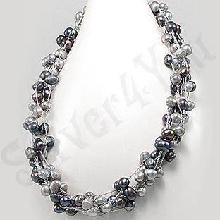 Colier fashion cu perle negre si gri - PK1397