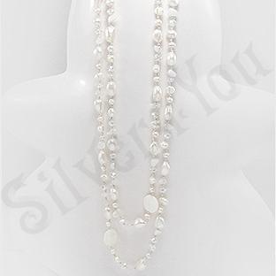 Colier cu perle albe sidef cuart si cristale - PK1439
