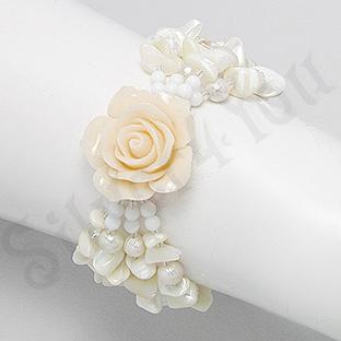 Bratara trandafir alb cu sidef alb, perle, cristale, pi - PK2006