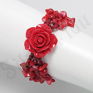 Bratara trandafir rosu din coral, cristale si margele - PK2007