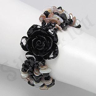 Bratara trandafir negru din sidef, onix, cristale si ma - PK2008