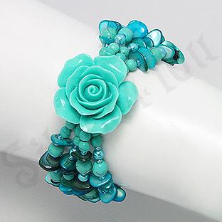 Bratara trandafir bleu din turcuaz, sidef, cristale si - PK2009