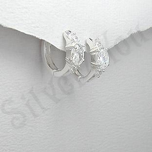 Cercei argint zirconi albe rotunzi mici - PK1848