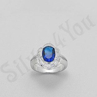 Inel argint zircon albastru aspect aur alb - PK1300
