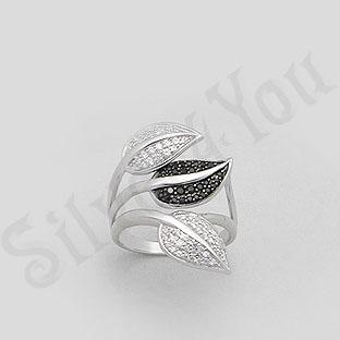 Inel argint aspect aur alb frunze cu zircon alb-negru - PK1295
