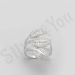 Inel argint aspect aur alb frunze cu zircon alb - PK1294