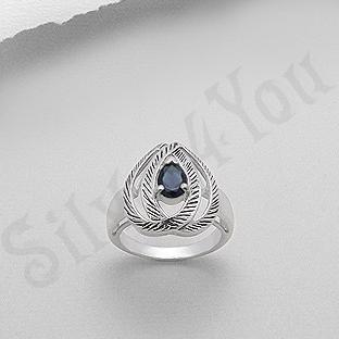 Inel argint zircon albastru aspect aur alb - PK1485