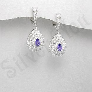 Cercei argint zirconi albe albastru aspect aur alb nunt - PK1860