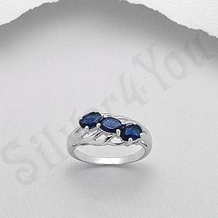 Inel argint logodna zirconii albastre aspect aur alb - PK2029