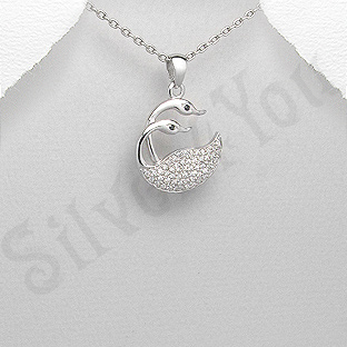 Pandantiv argint zircon alb lebede aspect aur alb - PK1957