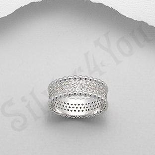 Inel argint logodna aspect aur alb - PK2030