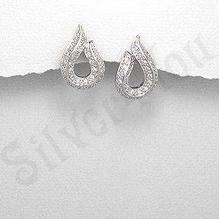 Cercei argint zircon alb aspect aur alb lacrima - PK1875