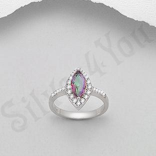 Inel argint logodna topaz mistic si zirconii albe oval - PK2042