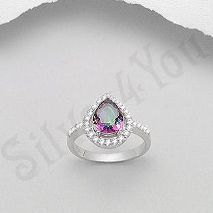 Inel argint logodna topaz mistic si zirconii albe lacri - PK2043