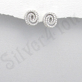 Cercei argint zircon alb spirala aspect aur alb - PK1878