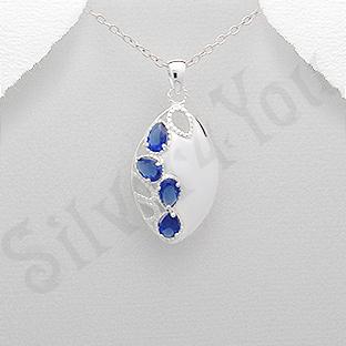 Pandantiv argint oval zirconii albastre lacrima - PK2441