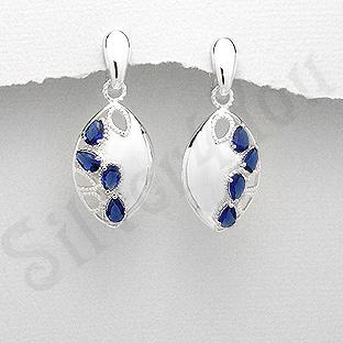 Cercei argint ovali zirconii albastre lacrima - PK2446