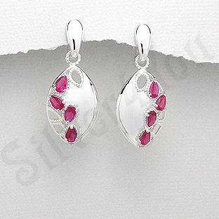 Cercei argint ovali zirconii rosii lacrima - PK2444