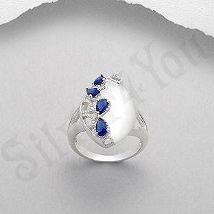 Inel argint oval zirconii albastre lacrima - PK2447