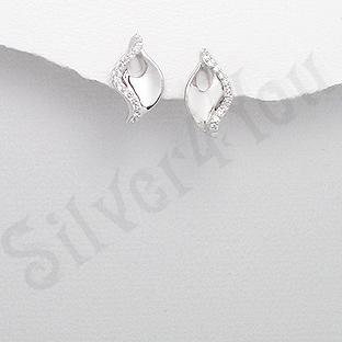 Cercei argint zirconii albe aspect aur alb - PK2507