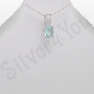 Pandantiv argint oval aspect aur alb topaz bleu verzui - PK2378