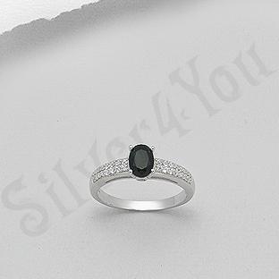 Inel argint logodna piatra neagra zircon aspect aur alb - PK2456