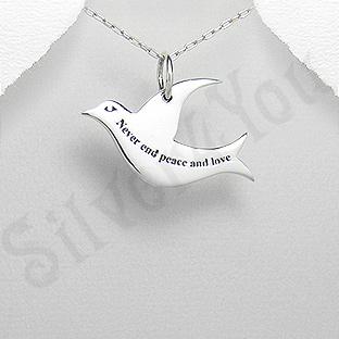 Pandantiv argint porumbel cu mesaj - PK1976