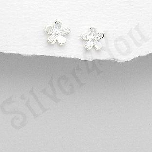 Cercei argint floare alba mici - PK1891