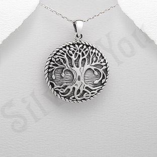 Pandantiv argint rotund copacul vietii - PK2526