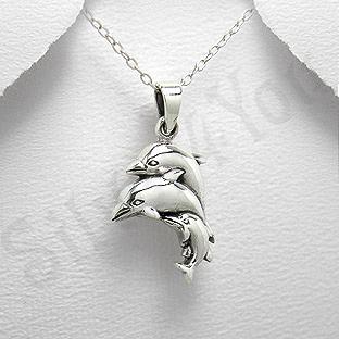 Pandantiv argint familie delfini - PK1335