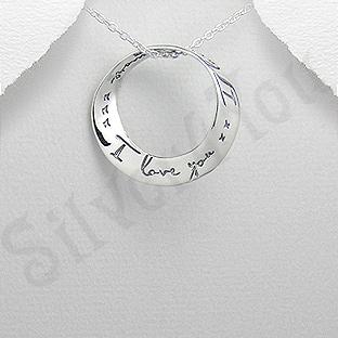 """Pandantiv argint """"I love you"""" - PK1417"""
