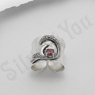 Inel argint lung marcasite piatra rosie zircon - PK2460