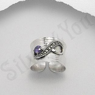 Inel argint marcasite piatra mov zircon reglabil - PK2462